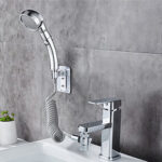 New              Bathroom Wash Face Basin Water Tap External Shower Head HandHeld Bidet Sprayer Wash Jet Diverter Kit Set