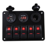 New              5 Gang Dual USB 12V On-Off LED Switch Panel Voltmeter Car Boat Marine RV Truck ON-OFF