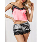 New              Women Lace Trim Smooth Vest Striped Bowknot Hot Pajama Set