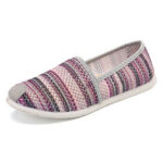 New              Women Mesh Stripe Comfy Brethable Soft Sole Casual Flats