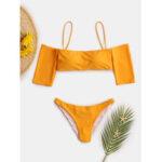 New              Women Off Shoulder Short Sleeve Swimsuit Solid Color Bikini