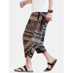 New              Mens Abstract Print Ethnic Style Pocket Elastic Waist Vintage Pants