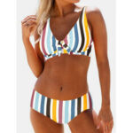 New              Plus Size Women Multi-Color Striped Tie Front Bikinis Backless Beachwear