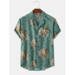 New              Casual Vintage Floral Print Revere Collar Short Sleeve Mens Shirts