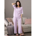 New              Women Softies Solid Color Lace Trim Half Sleeve Home Casual Pajama Set