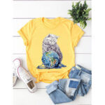 New              Casual Loose Animal Cat Print O-neck T-shirts For Women