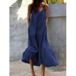 New              Sleeveless Straps Side Pocket Loose Solid Color Casual Maxi Dress