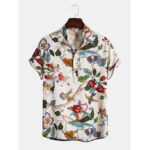New              Mens Holiday Classic Floral Printed Short Sleeve Casual Henley Shirts