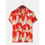 New              Mens Oriental Crane Print Revere Collar Short Sleeve Ethnic Casual Shirts