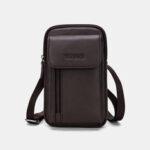 New              Men Genuine Leather 6.3 Inch Phone Holder Belt Bag Crossbody Bag
