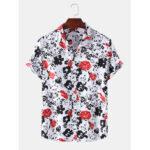 New              Mens Abstract Floral Print Turn Down Collar Hawaii Casual Short Sleeve Shirts