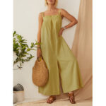 New              Solid Color Straps Pleated Daily Casual Jumpsuit For Women