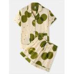 New              Women Green Dot Print Revere Collar Short Sleeve Elastic Waist Shorts Home Pajama Set