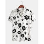 New              Mens Designer Flroal Print Button Up Holiday Short Sleeve Shirts