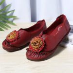 New              Women Folkways Stricing Flowers Comfy Soft Sole Casual Flat Loafers