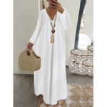 New              Lace Stitching V-neck Long Sleeve Elastic Cuffs Loose Casual Maxi Dress