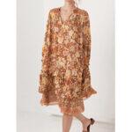 New              Bohemian Floral Print V-neck Long Sleeve Mid-long Dress