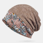 New              Printed Lace Stitching Beanie Scarf Hat Dual-use Turban Cap