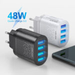 New              USLION 48W USB Charger 4-Port USB QC 3.0 Travel Wall Charger Adapter Quick Charging For iPhone 11 Pro Max SE 2020 Xiaomi MI10 Redmi Note 9S S20+ 5G