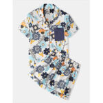 New              Women Floral Print Short Sleeve Revere Collar Home Casual Short Sleeve Pajama Set