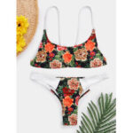 New              Women Floral Print Chinese Style Two Piece Bikini Backless Beachwear