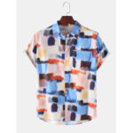 New              Mens Designer Colorful Watercolor Print Lapel Collar Casual Short Sleeve Shirts