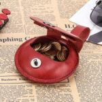 New              Women Men Genuine Leather Earphone Case Coin Purse