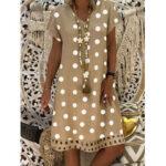 New              Polka Dot Print V-neck Casual Loose Mini Dress