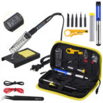New              JCD 908S 80W Soldering Iron Tool Kit Adjustable Temperature 110V 220V LCD Solder Welding Tools Ceramic Heater Soldering Tips Desoldering Pump 180~500℃