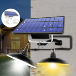 New              Double Head LED Solar Light Retro Pendant Outdoor Home IP65 Lamp For Camping Home Garden Yard