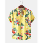 New              Mens Designer Cartoon Car Floral Print Hawaii Holiday Short Sleeve Shirts