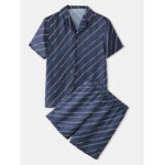 New              Mens Navy Stripe Pajama Set  Revere Collar Two Pieces Faux Silk Home Sleepwear