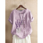New              Floral Embroidery O-neck Short Sleeve Button Vintage T-shirts For Women