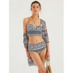 New              Women Vintage Ethnic Print  Push Up Bandage Hot Bikini Cover Ups Three Pieces