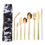 New              304 Stainless Steel Cutter Fork Spoon Set Portable Camouflage Western Tableware Bag Outdoor Dinnerware Set