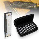 New              NAOMI  7PCS Blues Harmonica 10 Holes C Key Blues Band Harmonica Set With Case