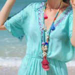 New              Gradient Colorful Tassel Handmade Beaded Necklace Shell Turquoise White Wooden Beads Long Necklace