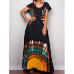 New              Retro Ethnic Style Bohemian Holiday Short Sleeve Loose Casual Maxi Dress