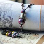 New              Vintage Geometric Stereoscopic Tassel Pendant Drawstring Necklace Ethnic Handmade Ceramic Adjustable Long Necklace