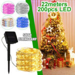 New              22M 200LED Solar String Fairy Light Warm White/White/Colorful/Pink/Blue Lawn Lamp Wedding Party Christmas Garden Decor