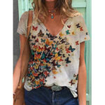 New              Women Butterfly Print V-neck Summer Short Sleeve Loose Casual T-shirts