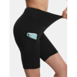 New              Sport Women Solid Color Elastic High Waist Yoga Running Biker Shorts With Pocket