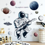 New              Space Theme Astronaut Wall Sticker Dormitory Living Room Wall Decor Self-Adhesive Bedroom 3d Kids Room Decoration Home Decor