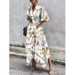 New              Ethnic Floral Print V-neck Belted Loose Half Sleeve Irregular Hem Vintage Maxi Dress