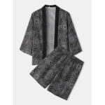 New              Mens Ethnic Style Print Kimono Tops Knee Length Shorts Casual Pajama Set