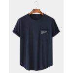 New              Cotton Mens Text Print Pocket Short Sleeve Casual T-Shirts