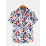 New              Mens Abstract Fruit & Vegetables Short Sleeve Lapel Collar Design Shirts