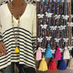 New              Bohemian Butterfly Tassel Pendant Necklace Ethnic Handmade Transparent Bead Long Necklace