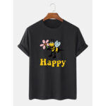 New              Cotton Cute Cartoon Bee Pattern Happy Print Breathable Short Sleeve T-Shirts
