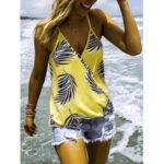 New              Tropical Plant Print V-neck Sleeveless Summer Hawaii Tank Tops